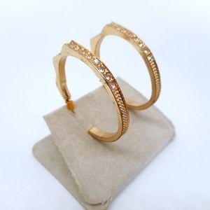 Jewelry - Big Gold Rhinestone Hoop Earrings
